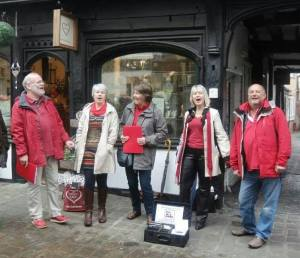 Singing in Shrewsbury as part of 'The Big Busk', 2014.
