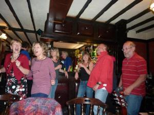 That Kay and that Jac enjoying themselves far too much. Bennetts Bar, Fishguard Festival, 2012