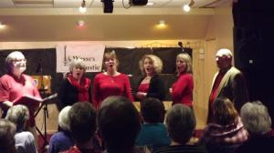 Opera singer pose for Wessex Folk and Acoustic Club, Blandford Forum